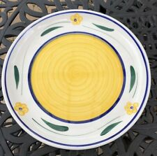 "15"" Roma Inc Platter/Pasta/Serving Bowl Italy Striped Interior Rim Yellow Blue"