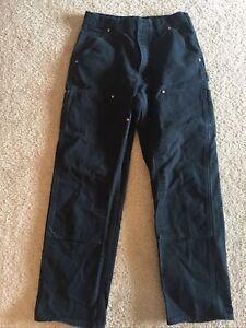 Carhartt Men 30 x 30 Double Knee Black Canvas Work Pants Carpenter Dungaree