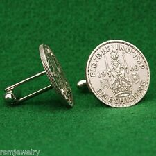 Scottish Crest Shilling KGVI Coin Cufflinks, Lion on Crown of Scotland Arms UK