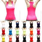 Women Seamless Ribbed Racer Back Stretch Tank Top T-Shirts Sleeveless Yoga Gym