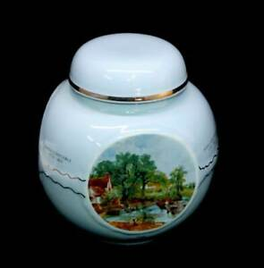 Vintage pastel blue Burgess & Leigh England lidded ginger jar with art scenes