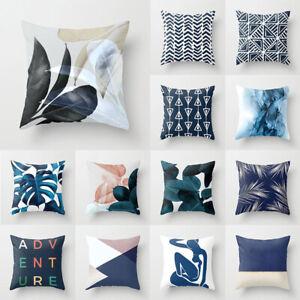 Nordic Blue Geometric Print Pillow Case Sofa Cushion Cover Peach Skin Pillowslip