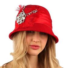 Winter Wool Feathers Rhinestones Cloche Bucket Church Hat Cap Adjustable Red