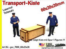 Spur 1 Lasercut 2x Transport Kiste 60x20x20mm aus Holz für z.B. Märklin Kiss