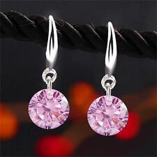 1Pair Elegant Women Pink Rhinestone Ear Stud Drop Earrings Crystal Jewellery