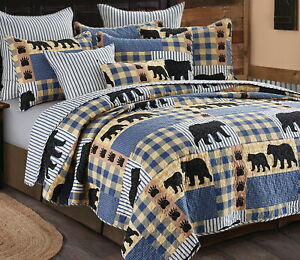 BLACK BEAR PAW BLUE BUFFALO CHECK 3pc King QUILT SET : LODGE CABIN PLAID COUNTRY