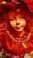 Old Fashion Stick Doll w/red hair,dress&hat.Adorable face and lots of beads 15""
