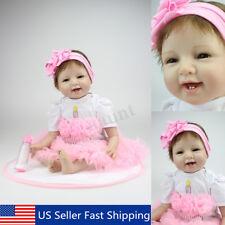 22'' Handmade Lifelike Newborn Reborn Baby Girl Doll Silicone With Clothes USA