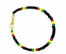 Rasta Bracelet Beaded Black, Red, Yellow and Green 8-in Gold Plated GB USA New
