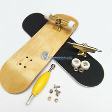 1 PC White Bearings Wheels Golden Trucks Maple Wooden Fingerboard Skateboard