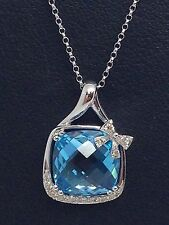 14K WHITE GOLD  BLUE TOPAZ DIAMOND PENDANT
