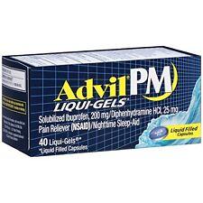 4 Pack Advil PM Liqui-Gels Night Time Pain Reliever 40 Liqui-Gels Each