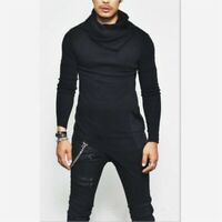 Men's Long sleeve High neck Irregular Slim fit Jumper Sweater Stylish Turtleneck