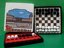 Vintage USSR Travel Magnetic Chess-Checkers Set Bakelite Box, Original Wrap.