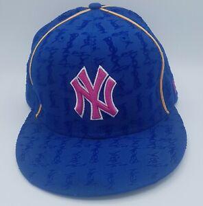 Unused New Era MLB 59Fifty Youth Kids 7 3/8 New York Yankees Blue Pink Girl Cap