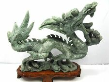 Beautifully Carved Stone Chinese Dragon Sculpture Figurine On Wood Stand