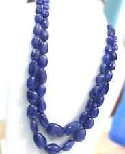 1554 TCW Natural blue Tanzanite Tumbles Beads Necklace certified estate vintage