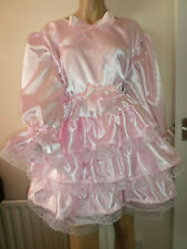 "ADULT BABY SISSY PINK SATIN PRETTY FRILLY RUFFLE  DRESS 42""  LONG PUFFED SLEEVES"