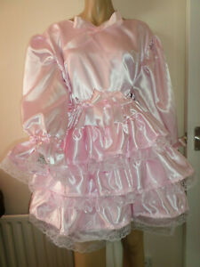 """ADULT BABY SISSY PINK SATIN PRETTY FRILLY RUFFLE  DRESS 48""""  LONG PUFFED SLEEVES"""