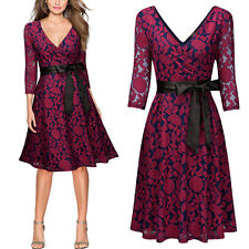 Women Retro Deep-V Evening Cocktail Party Belt Floral Lace Swing Pleated Dresses