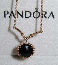100% Authentic Pandora 14K solid gold Black Spinel Necklace with box RARE