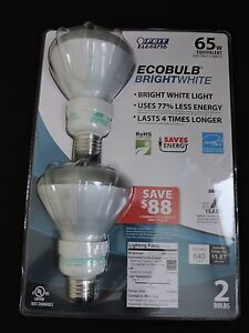 Feit Electric Light Bulbs 2 Pack 65W Equivalent uses 15 Watts Bright White