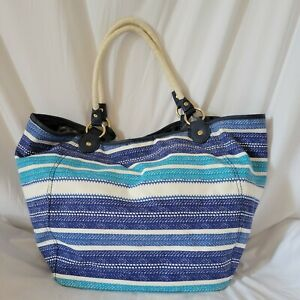 Tommy Hilfiger Canvas Tote Shopper Beach Bag Rope Handles Brass Tag Purse Blue