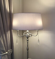 Satin Silver Jewelled Crystal Grey Shade Floor Lamp 3 Lights