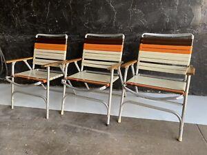 Set Of 3 Vintage Folding Aluminum Lawn Chairs Pool Yard Chair Vinyl Orange Brown