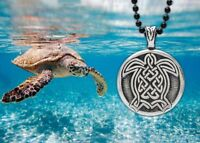 Celtic Turtle Pendant with black 24 inch steel chain mae in USA