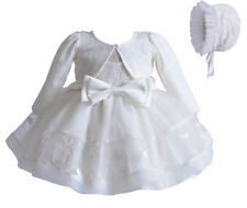 Cinda Baby Girls Ivory Lace Christening Party Dress Bonnet With Bolero 9-12 Mont