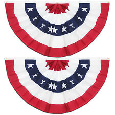 ANLEY USA Pleated Fan Flag American US Bunting Flags Half Fan Banner (2 Pack)