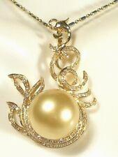 14mm golden South Sea pearl pendant/enhancer,diamonds,solid 18k yellow gold