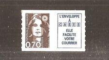 FRANCE 1993 Autoadhésif N° 6A ( 2873a ) Marianne 0.70 BRUN +Vignette NEUF** LUXE