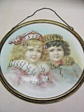 Antique Flue Cover: Lithograph Print: Young Girls in Winter Clothing Winter 7183