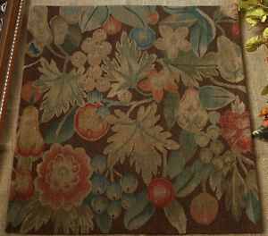1.95' Antique  OLD VINTAGE Treasure Limit Piece Aubusson Tapestry Canvas