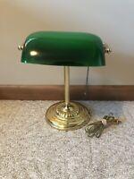 Bankers Desk Lamp Green Glass Brass Color Metal Base Vintage TESTED WORKS