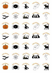 35 x Halloween Stickers Personalised Labels Party Bag Sweet Cones Spooky Scary