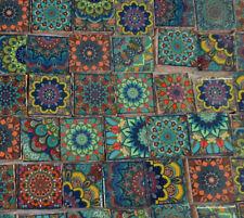 Ceramic Mosaic Tiles - Moroccan Tile Design Blue Yellow Orange Medallions Tile