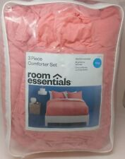Room Essentials Coral Color 3 Piece Comforter Set Size King New