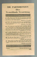Original USA WW 2 Surrender Leaflet Dropped on German Troops Party Bigwigs USAAF