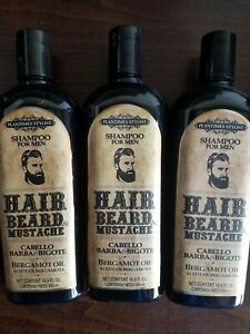 3 SHAMPOO FOR MEN BERGAMOT OIL HAIR, BEARD & MUSTACHE 16.9 FL OZ EACH