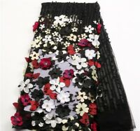 Eseosa African Lace Fabric 3D Flowers Beaded French Tulle Lace 1yard Quality