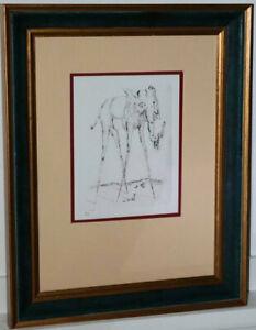 """Radierung , Bild nach Salvador Dali """"die Elefanten"""" surreal gerahmt 8/10   /*365"""
