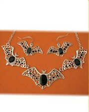 Bat Necklace and Clip Earrings Halloween Costume Accessory