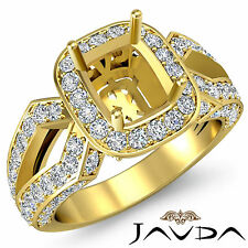 Cushion Shape Semi Mount Diamond Engagement Filigree Ring 18k Yellow Gold 1.4Ct