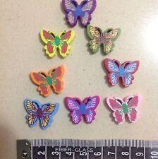 Cute Wooden Butterfly Buttons 8 Pieces Various Colours Australian Seller