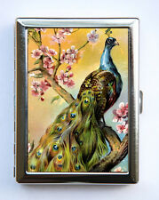 Peacock Cherry Blossoms Cigarette Case id Wallet Business Card Holder flowers