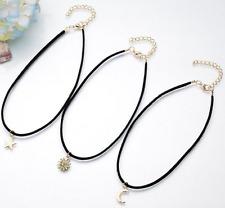 Set Of 3  Sun Star Moon Choker Retro Gothic Black Suede Thin Choker Necklace