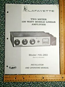 Lafayette HA-260 2-Meter 120 Watt Mobile Linear Amplifier Manual w/schematic